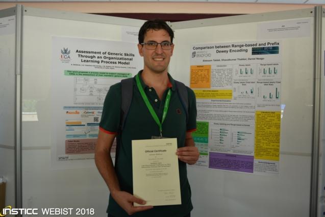 Contribución de profesores de la Escuela Superior de Ingeniería recibe el premio a la mejor contribución en formato póster en el 14th International Conference  on Web Information Systems and Technologies (WEBIST 2018).