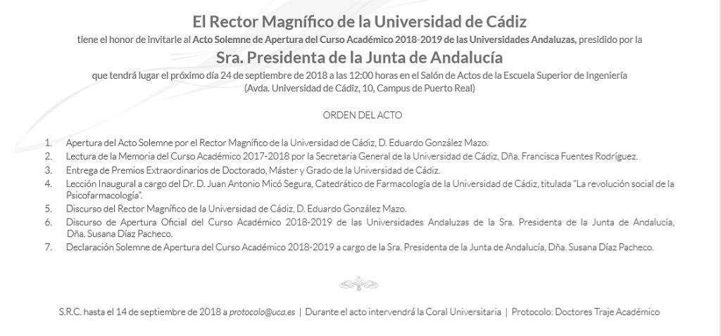 La UCA acogerá el acto solemne de Apertura del Curso Académico 2018/19 de las Universidades Andaluzas
