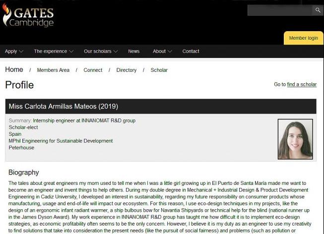 Carlota Armillas, única española que obtiene la beca de la Fundación Gates en la Universidad de Cambridge