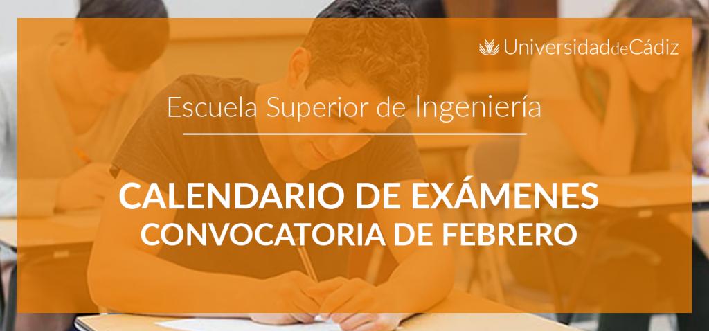Calendario exámenes febrero