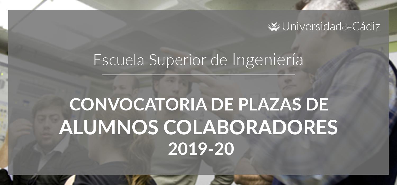 Convocatoria de Plazas de Alumnos Colaboradores 2019-20
