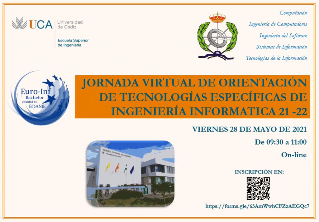 JORNADA DE ORIENTACIÓN TECNOLOGÍAS ESPECÍFICAS DEL GRADO EN INGENIERÍA INFORMÁTICA