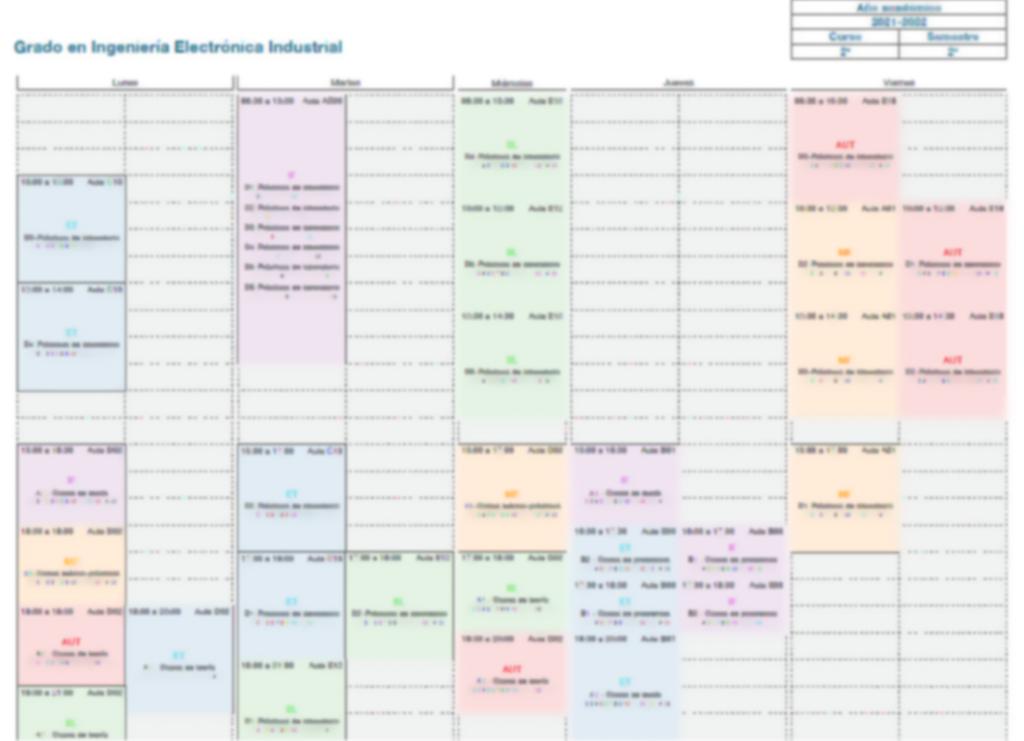 Horarios grados curso 2021-22