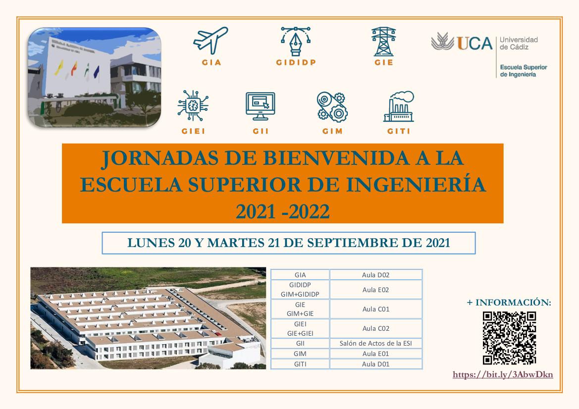 Jornadas de Bienvenida para estudiantes de nuevo ingreso. Curso 21/22